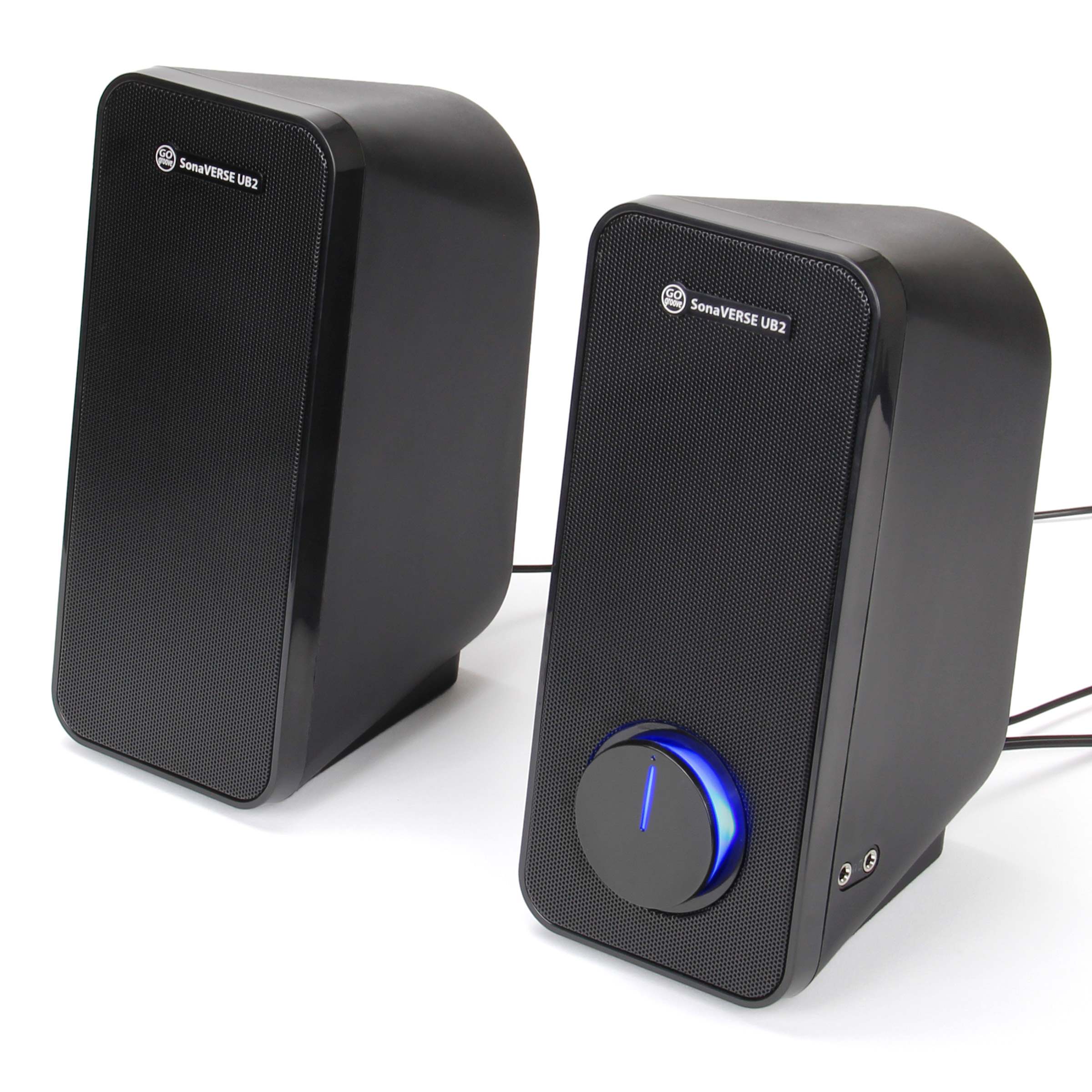 GOgroove Computer Speakers - SonaVERSE UB2 Multimedia USB Powered PC Speakers for Desktops & Laptops - 2 Way Drivers Enhance Clarity and Bass, Built-in Headphone & AUX Input Jacks, LED Volume Knob