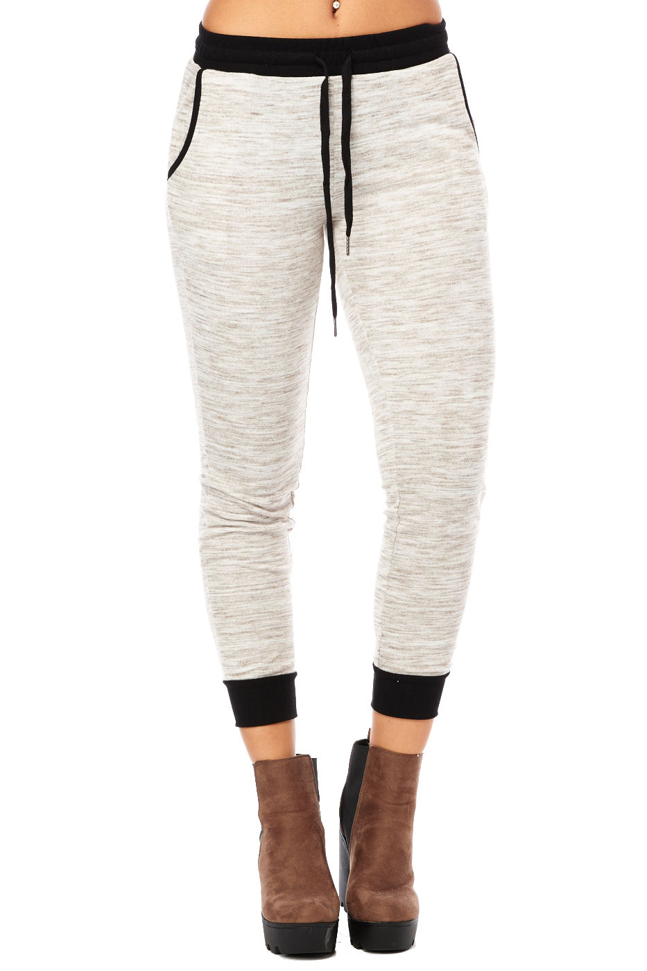 Womens Ladies Flat Heather Marled Active Running Joggers Pants by Iris Los Angeles