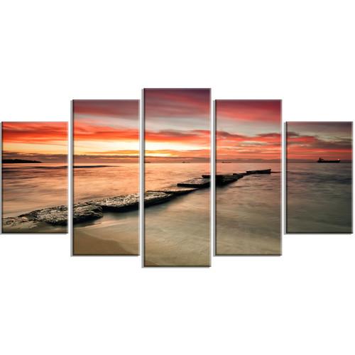 Design Art 'Wonderful Sunrise on Black Ocean' 5 Piece Wall Art on Wrapped