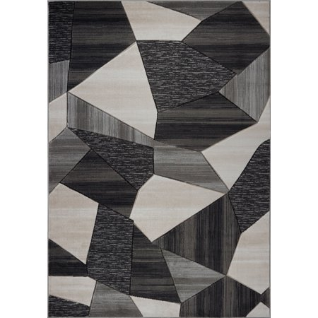 Beautiful Super Soft Modern Indoor Vincenza Collection Area Rug Carpet for Bedroom Living Room Dining Room in Black-Dark Grey, 5x7 (5'3