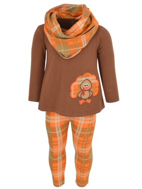 Girls 3 Piece Thanksgiving Turkey Embroidery Plaid Outfit (2t)