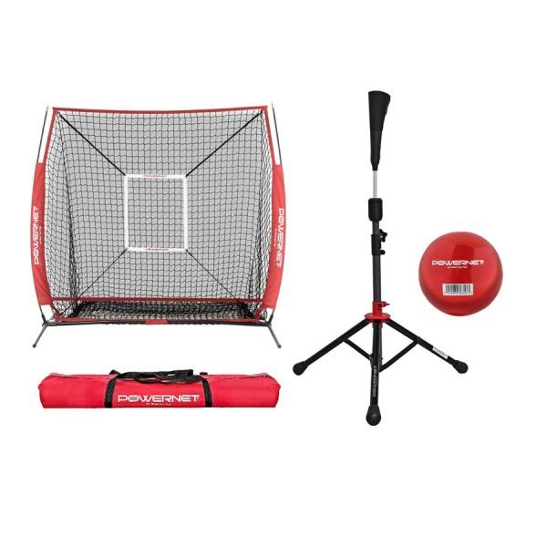 PowerNet Practice Net 5 x 5 (Bundle with Strike Zone, Batting Tee, and Training Ball) for Baseball Softball