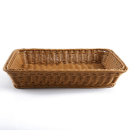Wicker Bread Baskets - Poly-Wicker Bread Basket, Long Woven Tabletop Food Fruit Vegetables Serving Basket, Restaurant Serving, Honey Brown - 16