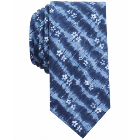 Bar III NEW Blue Indigo Tie-Dye Print Skinny Mens Neck Tie Cotton Accessry