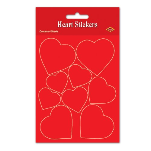 Beistle 74010 Heart Stickers Party Favors, 4-3/4-Inch by 7-1/2-Inch, 4 Sheets Per Package