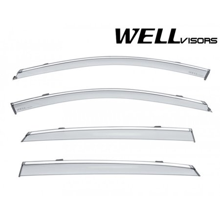 - WellVisors Replacement for 2016-Present Cadillac CT6 4Dr Sedan Clip-ON Chrome Trim Smoke Tinted Side Rain Guard Window Visors Deflectors 3-847CA005
