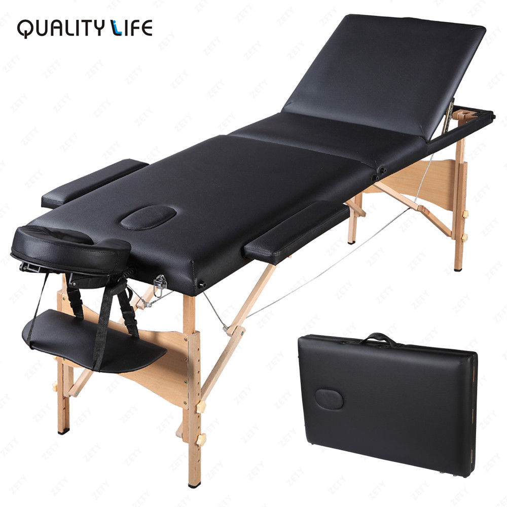 "84"" Folding Massage Table Portable 3 Fold Massage Bed W/ Face Cradle, Arm Sling & Armrests,Black"