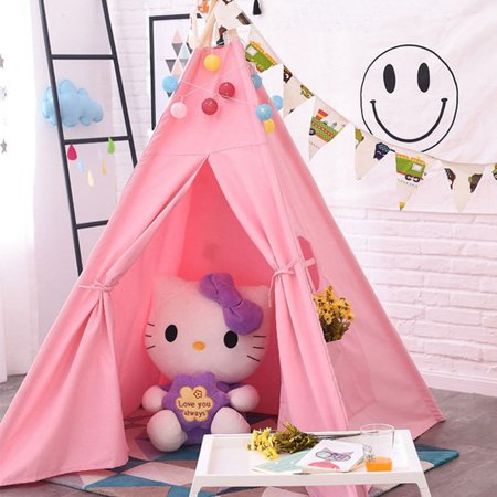 Ediors Fashion Portable Boys&Girls Teepee Tent Kids Indian Canvas Playhouse Sleeping Dome Children Play House - Girl Teepee