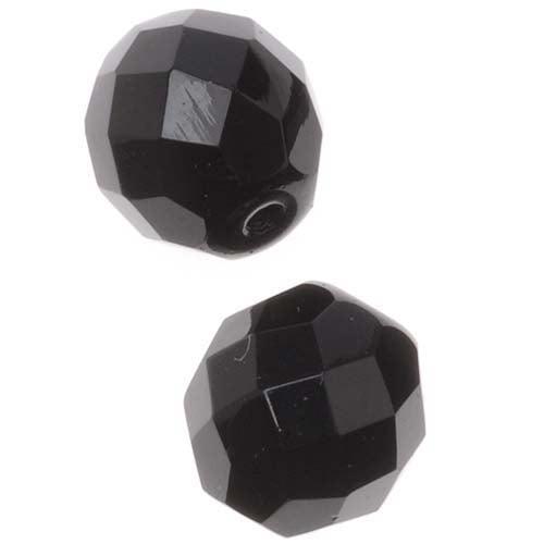 "Czech Fire Polished Glass Beads 10mm Round ""Jet"" Black (12)"