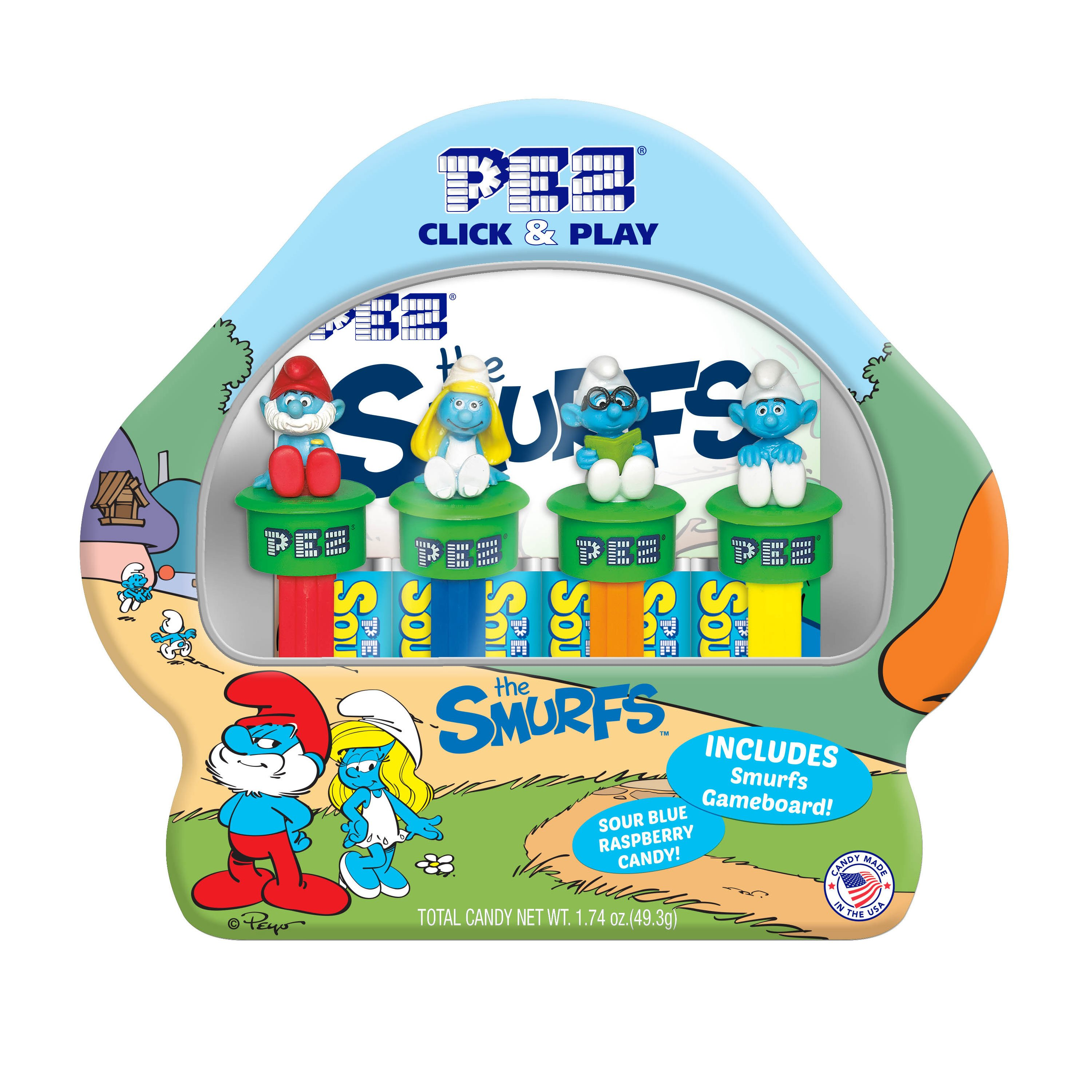 PEZ Candy Smurfs Click & Play Gift Tin with 4 Candy Dispensers + 6 Rolls of Candy