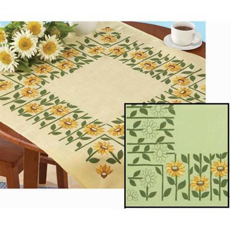 Village Linens Bright Flowers Table Ensemble Stamped Cross-Stitch