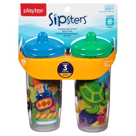 Playtex Sipsters Stage 3 Insulated Spout Sippy Cup 9oz 2-Pack Assorted Patterns