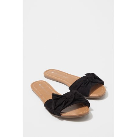 Urban Planet Women's Faux-Suede Bow Band Slide Sandal - image 2 of 3