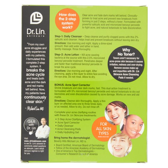 Dr. Lin Skincare Complete 2 Step Acne Clarifying System, 3 pc ...