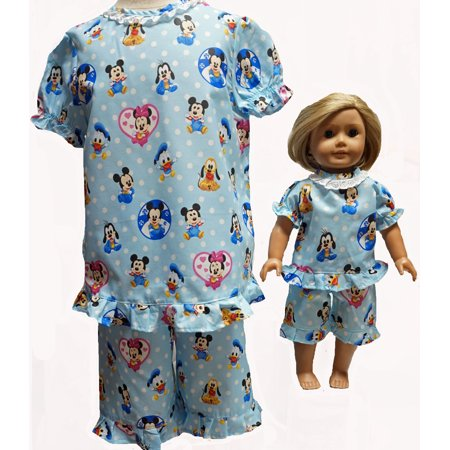 Size 8 Blue Matching Girl And Doll Mickey Pajamas