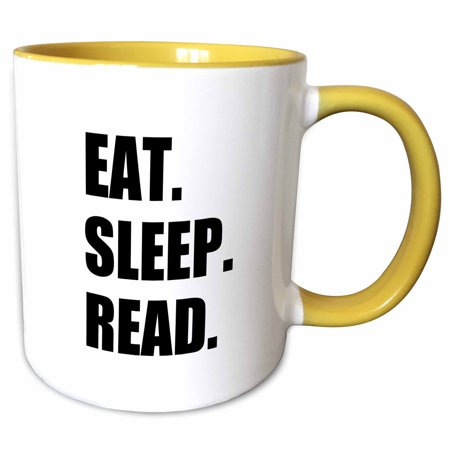 3dRose Eat Sleep Read - fun gift for reading fans bookworms and avid readers - Two Tone Yellow Mug, 11-ounce