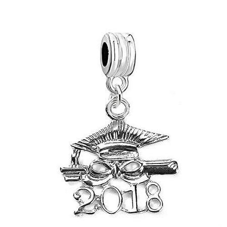 SEXY SPARKLES 2018 Graduation Diploma and Cap Charm Bead for European Snake Chain Charm Bracelet - Graduation Charms