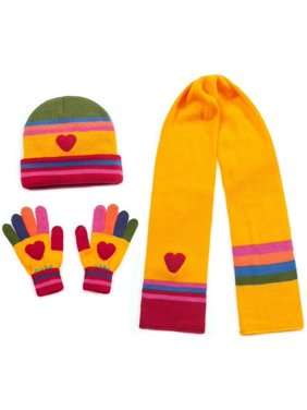 2a1587e11 Product Image Girls Yellow Heart Hat Scarf Gloves Handmade Winter Set