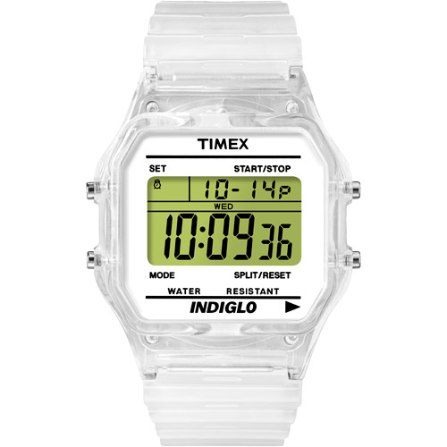 Timex T2N803 Style Core Classic Multifunction Clear Case Strap Digital Watch
