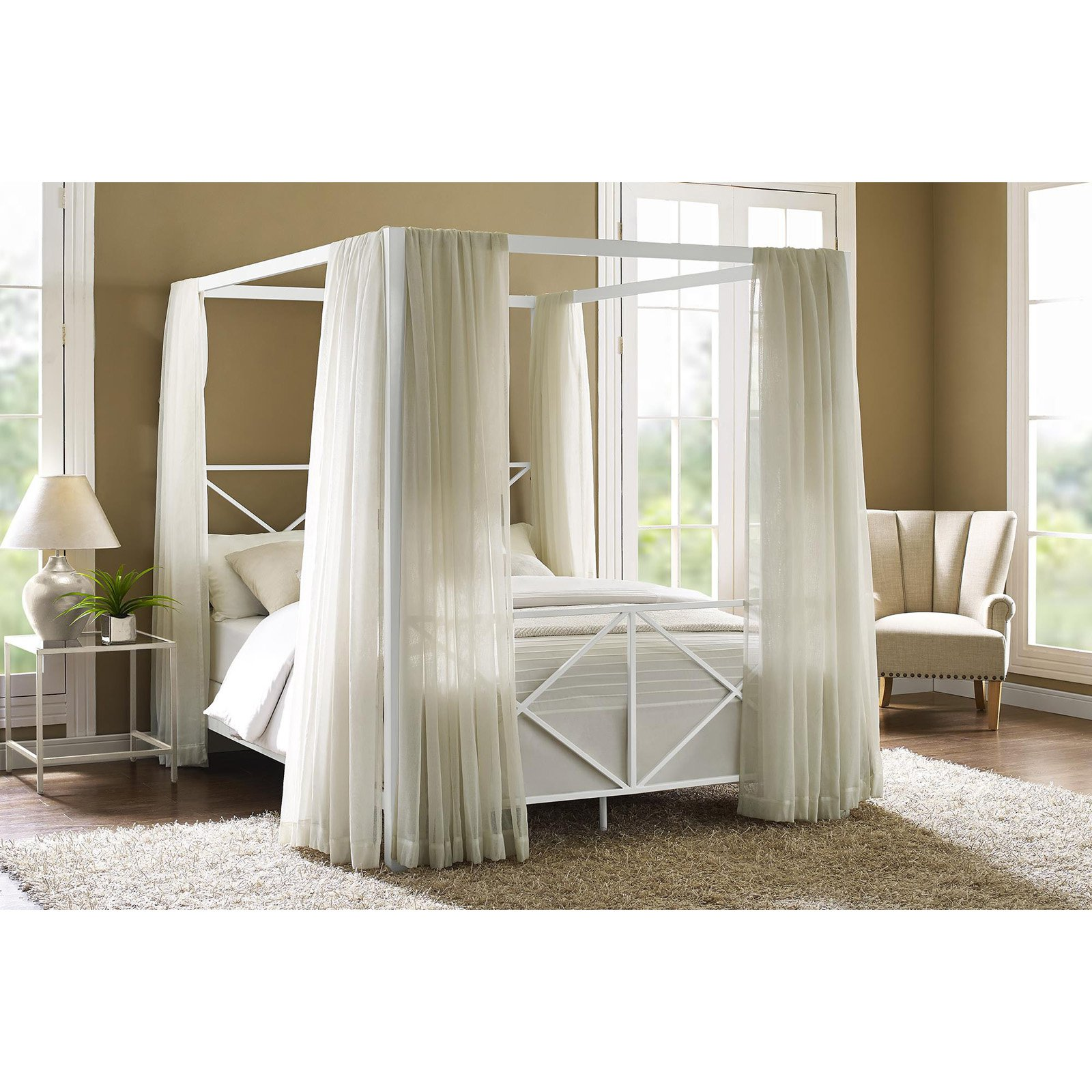Dhp Rosedale Metal Canopy Bed Multiple Sizes Colors