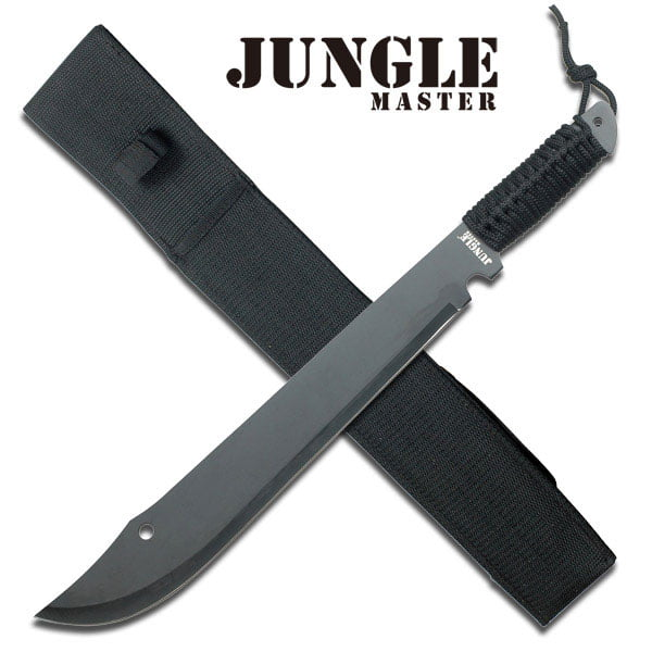 "New! 20"" Full Tang Black Ninja Cord-Wrapped Survival Machete w  Sheath by Jungle Master"