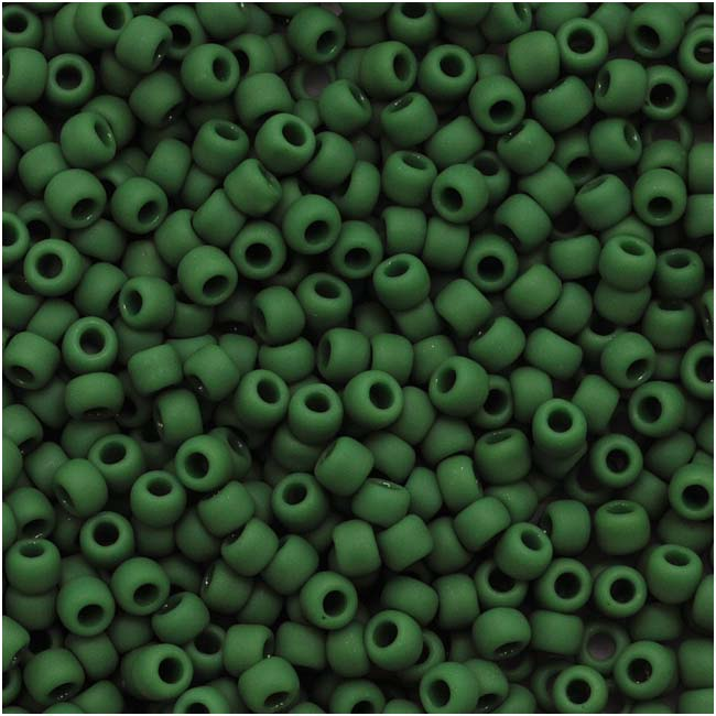 Toho Round Seed Beads 11/0 #47HF 'Opaque Frosted Pine Green' 8 Gram Tube