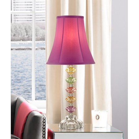 Regency Hill Bohemian Accent Table Lamp Stacked Colored Glass Orchid Bell Shade for Kids Room Bedroom Bedside Nightstand ()