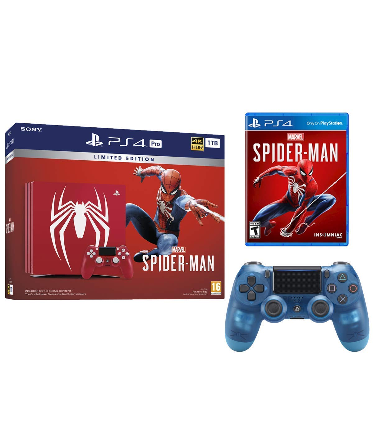 Playstation 4 Pro Marvel's Spider-Man Limited Edition Amazing Red 1TB Console with Extra Crystal Blue... by Sony