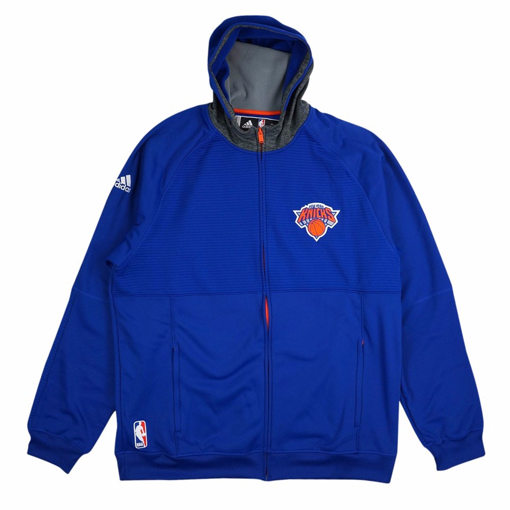 New York Knicks NBA Adidas Blue Team Issued Pre-Game Full Zip Hooded Pro Cut Jacket Jacket For Men (4XLT) by Adidas