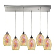 Avalon 6-Light Rectangular Pendant Fixture in Satin Nickel with Multi-colored Crackle Glass