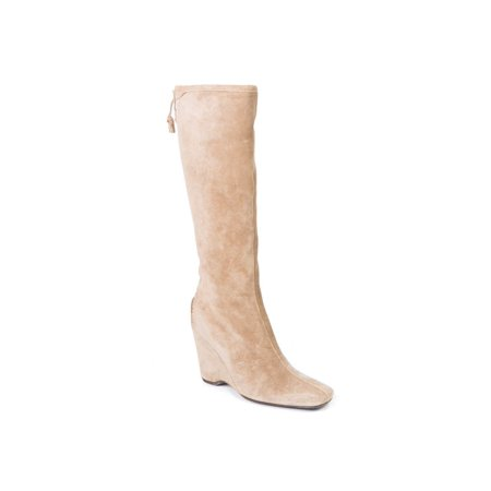 Car Shoe By Prada Beige Suede Knee High Wedge Boots