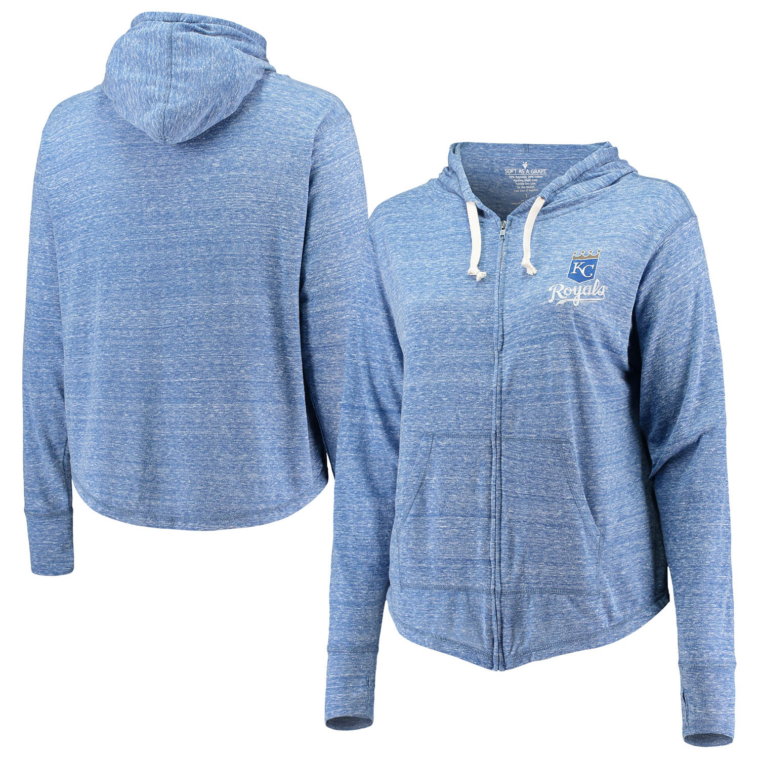 Kansas City Royals Soft as a Grape Women's Plus Size Full-Zip Hoodie - Royal