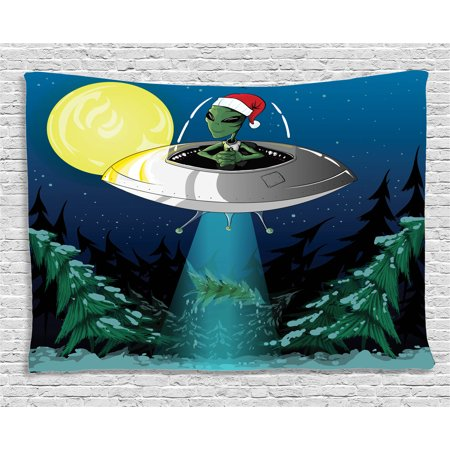 Outer Space Decor Tapestry, Alien with Santa Claus Hat Kidnaps Tree for Christmas Night Airship Print, Wall Hanging for Bedroom Living Room Dorm Decor, 60W X 40L Inches, Green Blue, by Ambesonne - Outer Space Decor