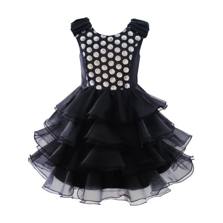 Girls Dress Ruffles Tulle Tiered Dress Sequin Party Birthday Princess 4