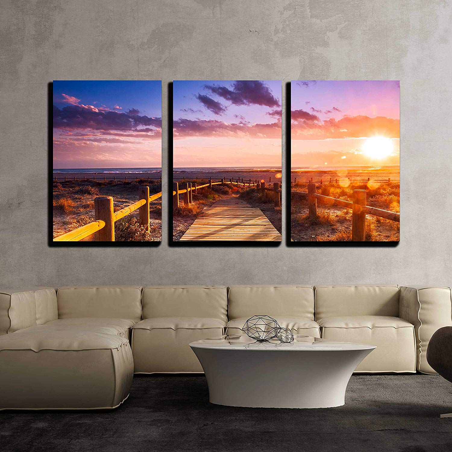 "wall26 - 3 Piece Canvas Wall Art - Sunset beach near Almeria. Cabo de Gata Nijar Natural Park, Almería. Spain. Andalusia - Modern Home Decor Stretched and Framed Ready to Hang - 16""x24""x3 Panels"