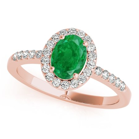 0.90 Carat Ttw Diamond And Oval Shaped Emerald Ring In 10K Rose Gold