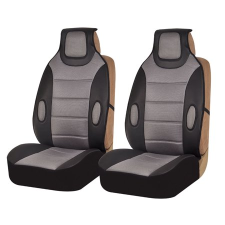 FH Group Gray and Black Faux Leather Car Seat Cushions, 2 Pack
