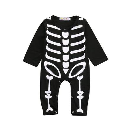 Family Halloween Costumes With Baby Girl (Wallarenear Baby Boys Girl Halloween Skeleton Romper)