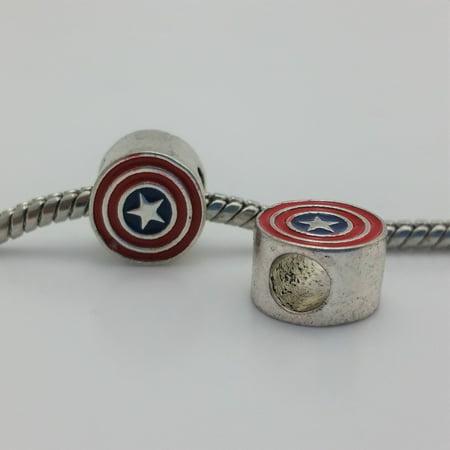1 Bead - Captain America Enamel Silver European Bead Charm - Enamel Bootie Charm