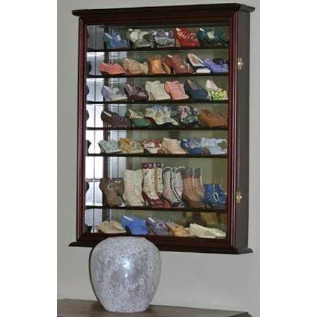 Wall Display Case Cabinet For Just The Right Shoe Miniatures Figurines Curio Sc13 Cherry Finish