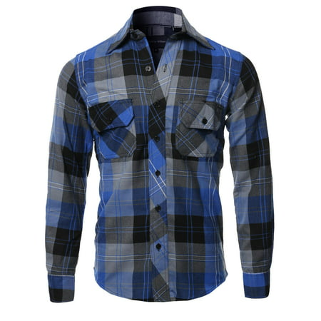 FashionOutfit Men's Casual Plaid Flannel Woven Long Sleeve Button Down - Long Flannel Skirt
