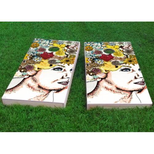 Custom Cornhole Boards Lady with Flowers in Hair Cornhole Game (Set of 2) by Custom Cornhole Boards