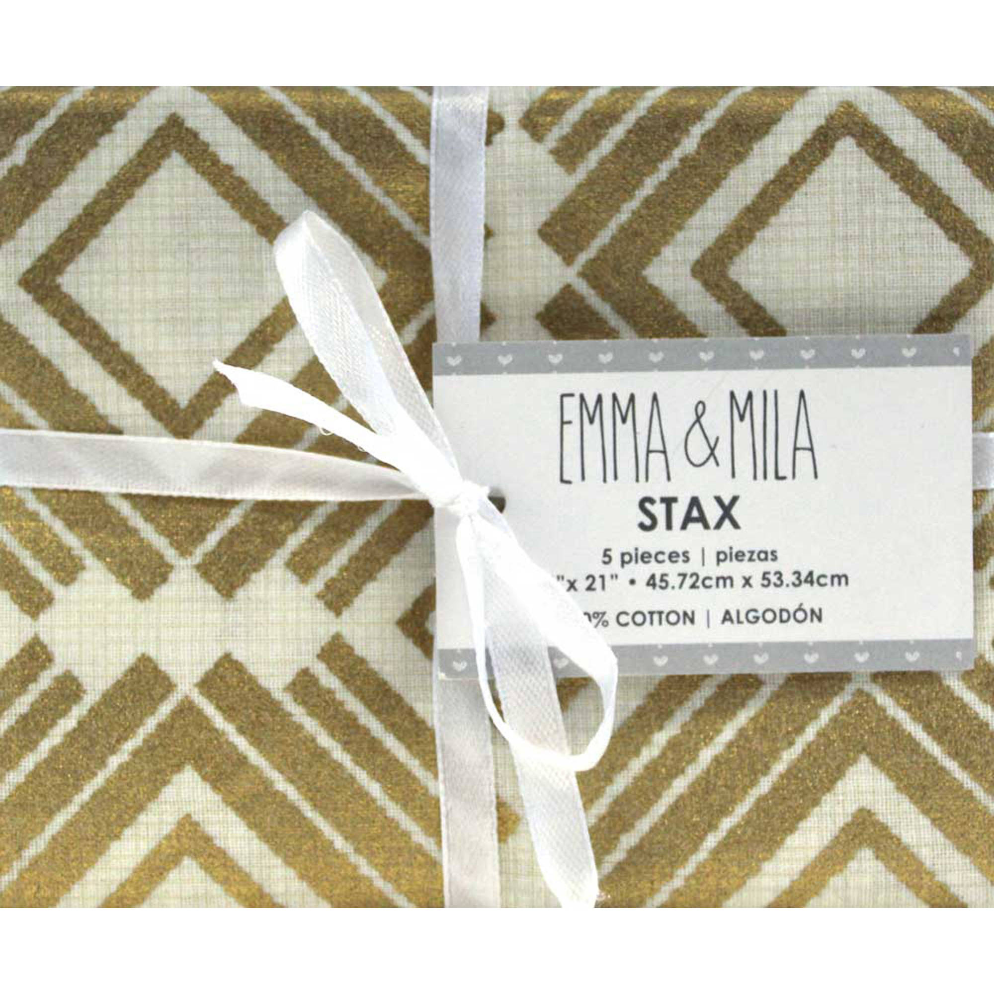 Emma and Mila - Gold Fat Quarter Stack - 100% Cotton Pre Cut Fabric