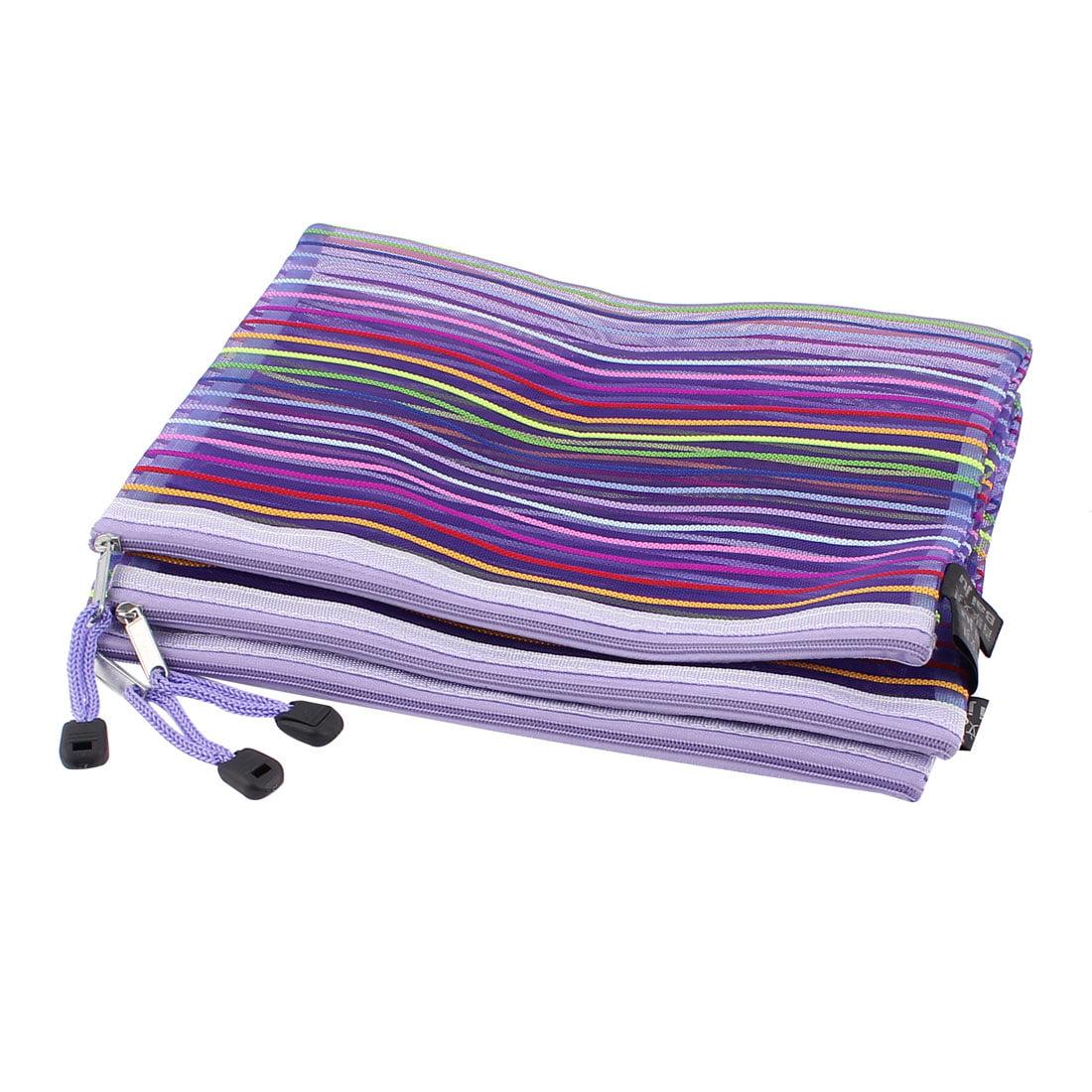Unique Bargains Meshy Style Stripes Pattern Zip Up A5 Paper Document File Pen Bag Holder 3Pcs