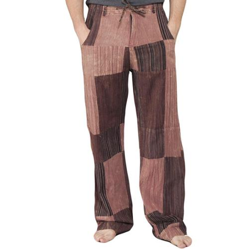 Men's Reclyed Patchwork Cotton Pants (Nepal) Brown-Large