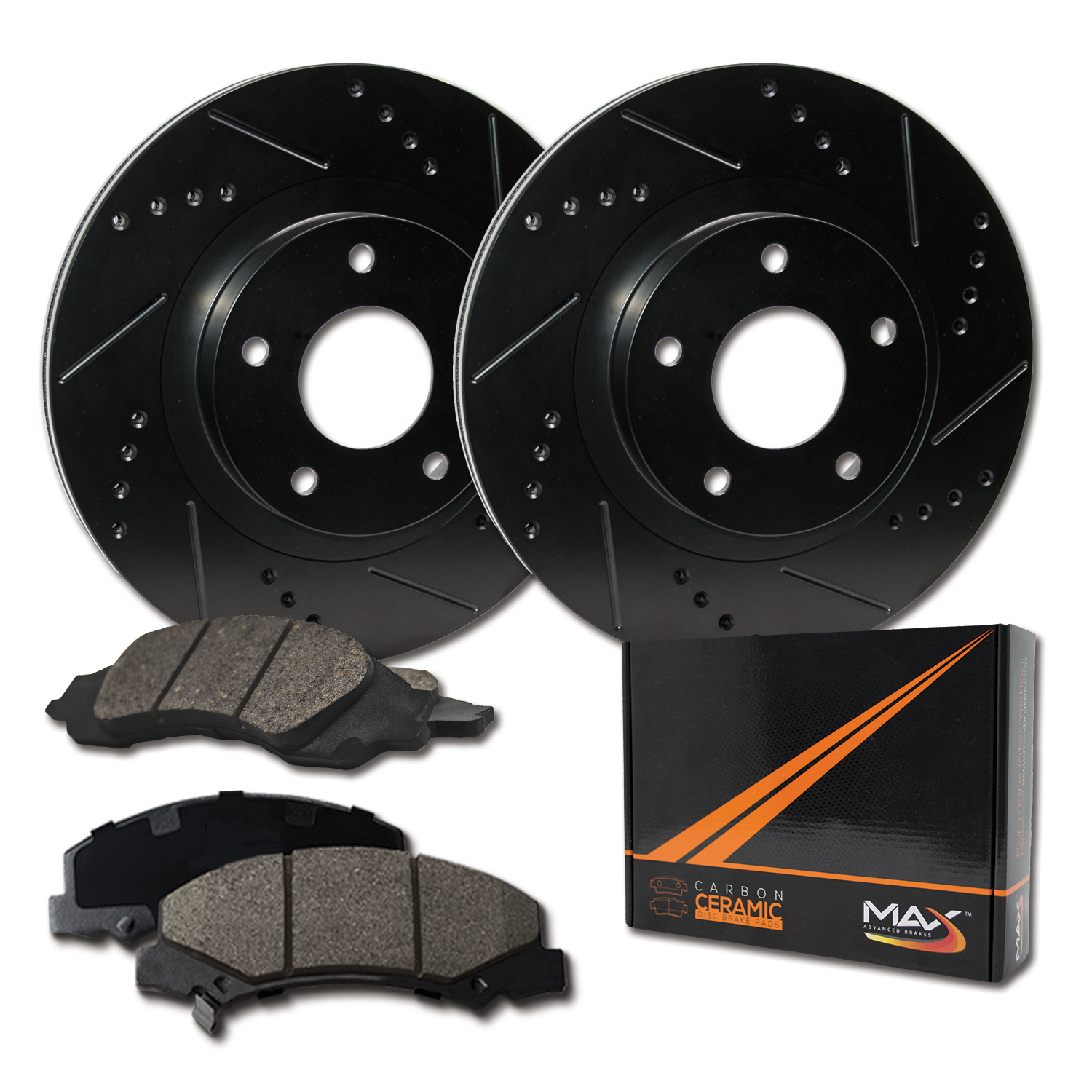 Premium Slotted Drilled Rotors + Ceramic Pads KT010233 Fits: 2005 05 BMW 325i//325Ci E46 Models Max Brakes Front /& Rear Performance Brake Kit