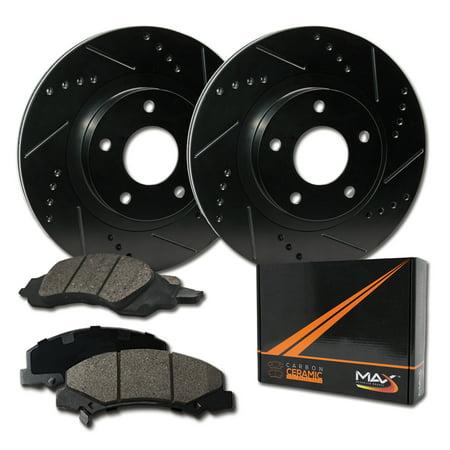 KT078432 Max Brakes Rear Performance Brake Kit Premium Slotted Drilled Rotors + Ceramic Pads Fits: 2007 07 2008 08 2009 09 GMC Sierra 1500 2WD//4WD Models