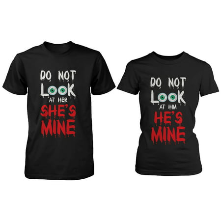 Funny Halloween Horror Night Couple Shirts - Do Not Look At Mine