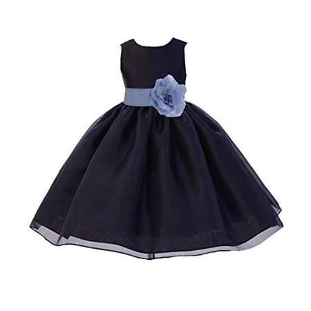 Ekidsbridal Black Formal Satin Bodice Organza Skirt Flower Girl Dress Pageant Wedding Special Occasion Holiday Easter Toddler Ball Gown Recital Reception Birthday Princess - Flower Girl Balls