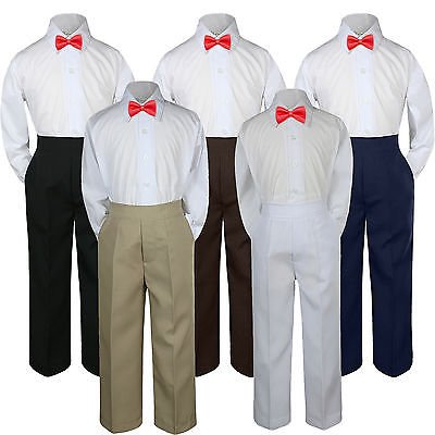 3pc Red Rudy Christmas Bow Tie Suit Shirt Pants Set Baby Boy Toddler Kid  S-7 - Baby Christmas Suits